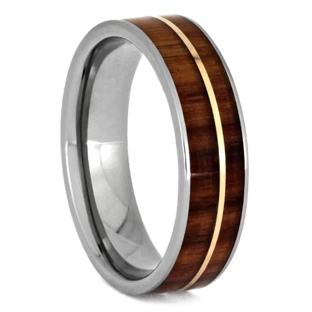 Tulipwood Ring With Rose Gold Pinstripe, Titanium Wedding Band-1180 - Jewelry by Johan
