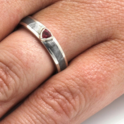 Meteorite Engagement Ring with Red Ruby Stone, 14k White Gold Ring-3339 - Jewelry by Johan