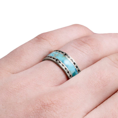 Turquoise Wedding Band, Diamond Eternity Ring In White Gold-DJ1005WG - Jewelry by Johan