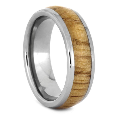Polished Oak Wood And Titanium Wedding Band, Wood Ring-2370