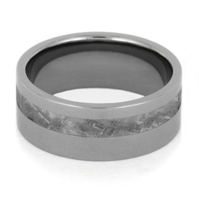 Meteorite Wedding Band Inlaid In Solid Titanium-1776 - Jewelry by Johan