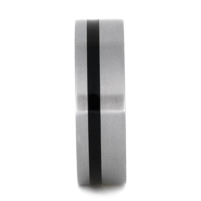 Titanium Ring With Black Enamel Pinstripe And Barrel Wood Sleeve-2874 - Jewelry by Johan
