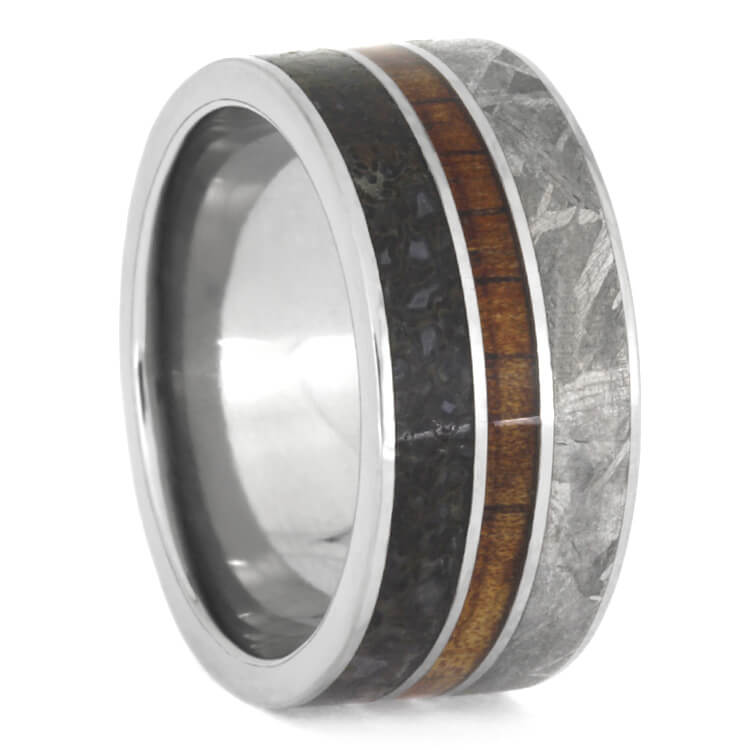Koa Wood Men's Wedding Band With Meteorite And Dinosaur Bone-2521 - Jewelry by Johan