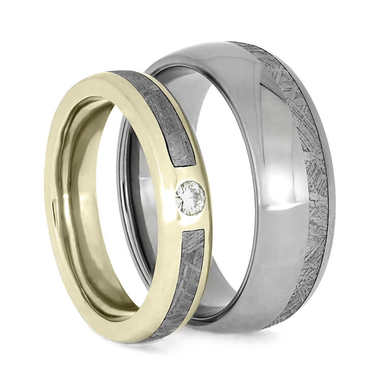 Meteorite Ring Set With White Gold And Titanium Wedding Bands-3776 - Jewelry by Johan