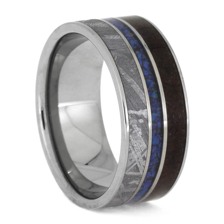 Crushed Dinosaur Bone Ring With Meteorite And Opal, Size 7.75-RS10299 - Jewelry by Johan