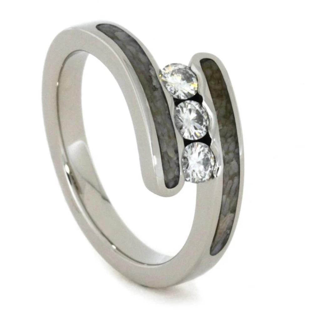 Moissanite Three Stone Ring with Dinosaur Bone in 10k White Gold-1807 - Jewelry by Johan
