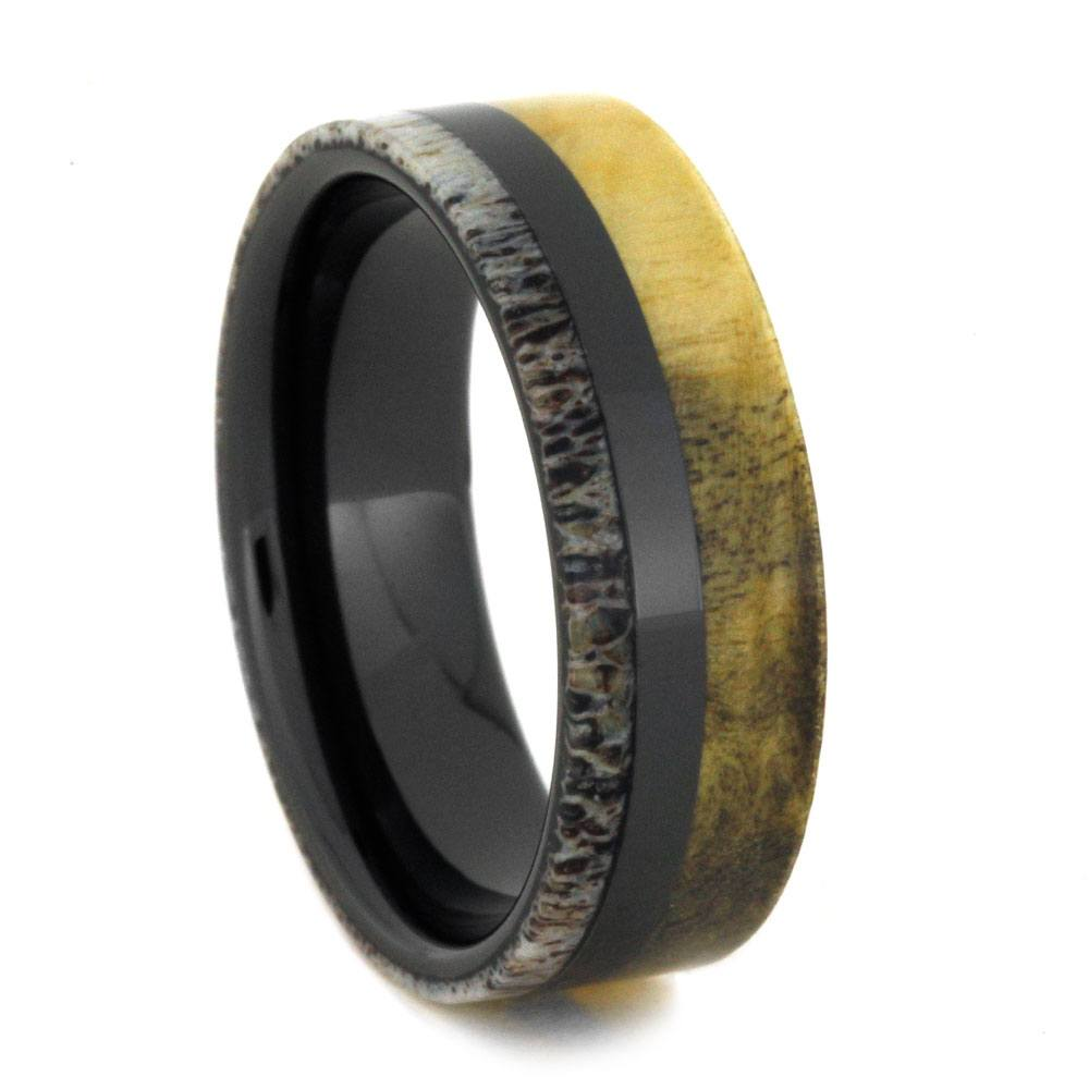 Black Ceramic Ring with Antler and Buckeye Burl
