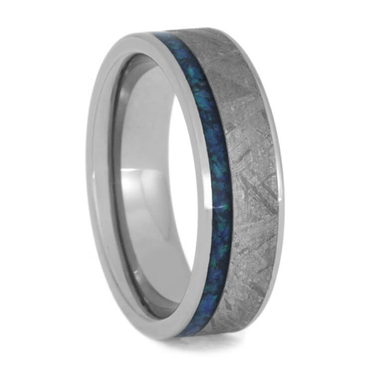 Meteorite Ring With Crushed Synthetic Opal, Titanium Band-3633 - Jewelry by Johan