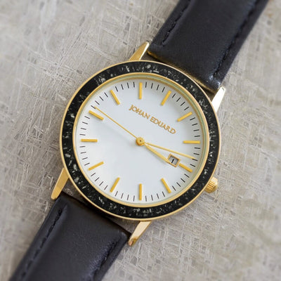 Black Stardust Watch In Golden Metal With Black Leather Strap