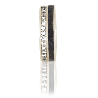 Unique Eternity Ring With Dinosaur Bone and Diamonds In White Gold-DJ1023WG - Jewelry by Johan