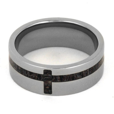 Men's Ring with Antler Inlay in Cross Shape