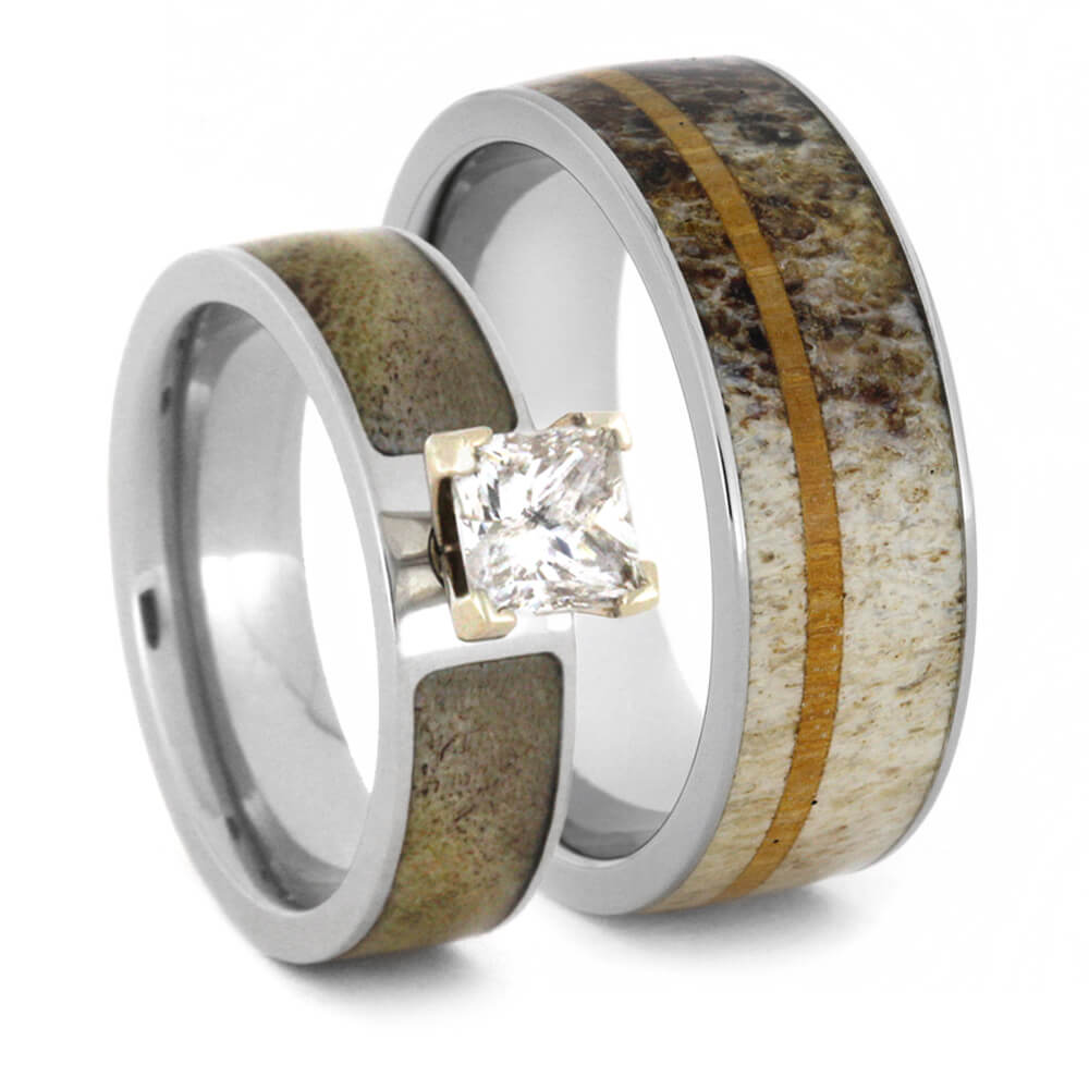 Antler Wedding Ring Set With Princess Cut Moissanite Engagement Ring-3413 - Jewelry by Johan