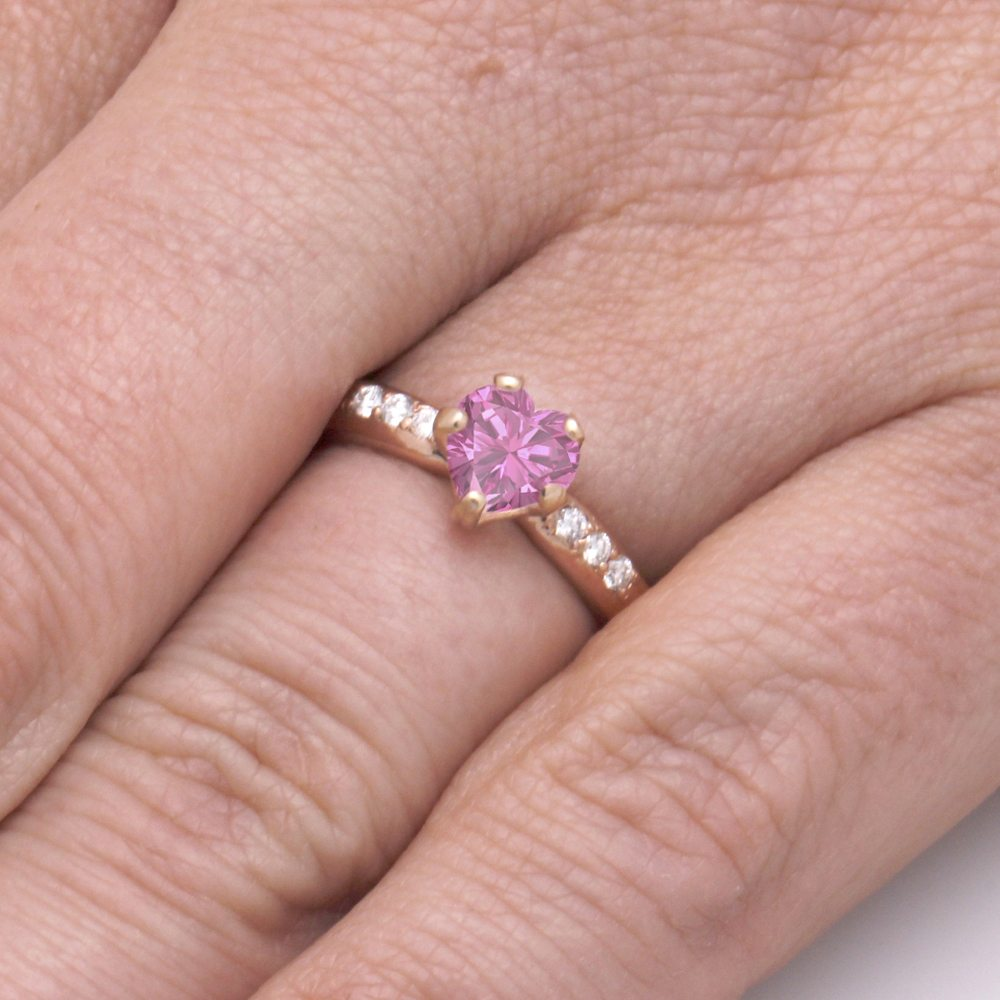 Pink Sapphire Engagement Ring, 14k Rose Gold Ring With Diamond ...