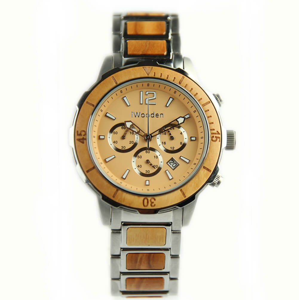 Mens Light Wood Watch with Steel Casing-SW1014