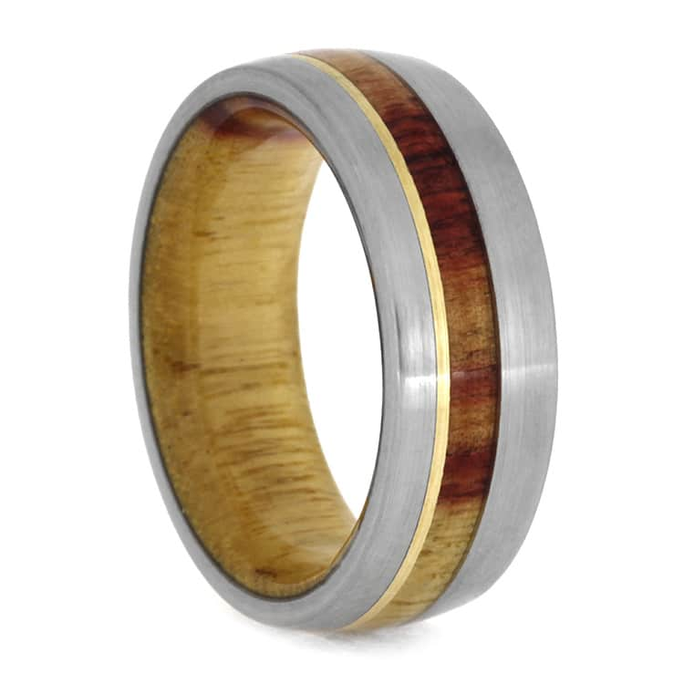 Brushed Titanium Ring With Yellow Gold And Tulipwood