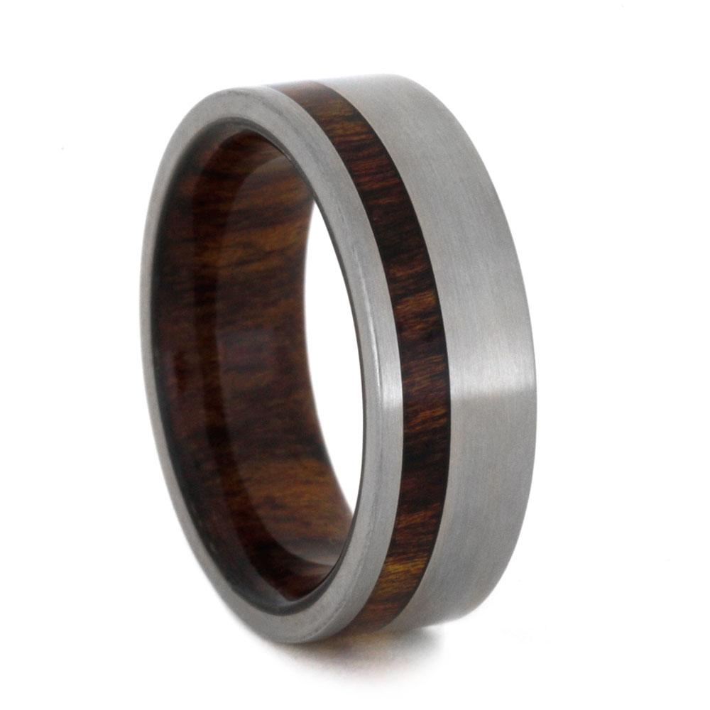 Caribbean Rosewood Wedding Band In Titanium, Size 7.75-RS9146 - Jewelry by Johan