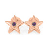 June Birthstone Gold Star Earrings with Alexandrite-4650AX - Jewelry by Johan