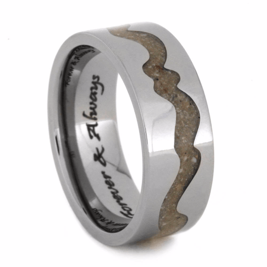 Engraved Titanium Pet Memorial Ring with Ashes