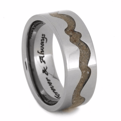 Engraved Titanium Pet Memorial Ring with Ashes-2072 - Jewelry by Johan