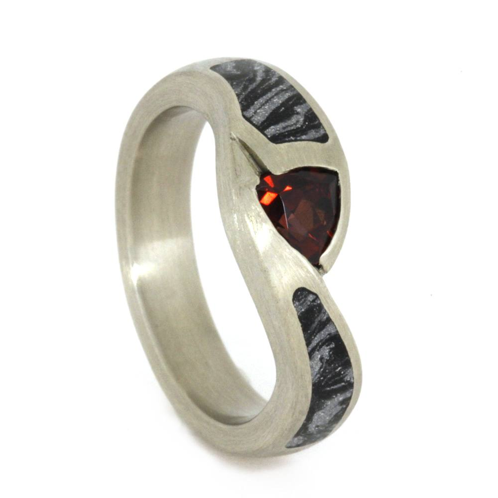 Ruby Engagement Ring with Two Mokume Gane Inlays, White Gold Ring-3342 - Jewelry by Johan