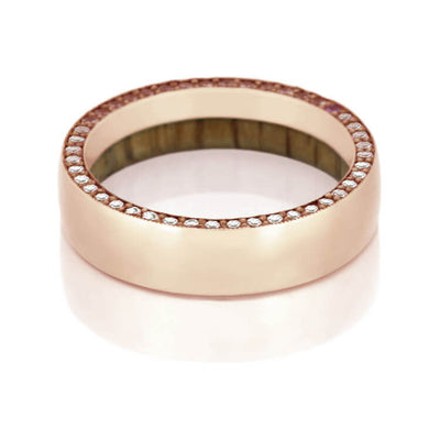 Gemstone Eternity Ring With Wooden Sleeve, Rose Gold Ring-DJ1019RG - Jewelry by Johan