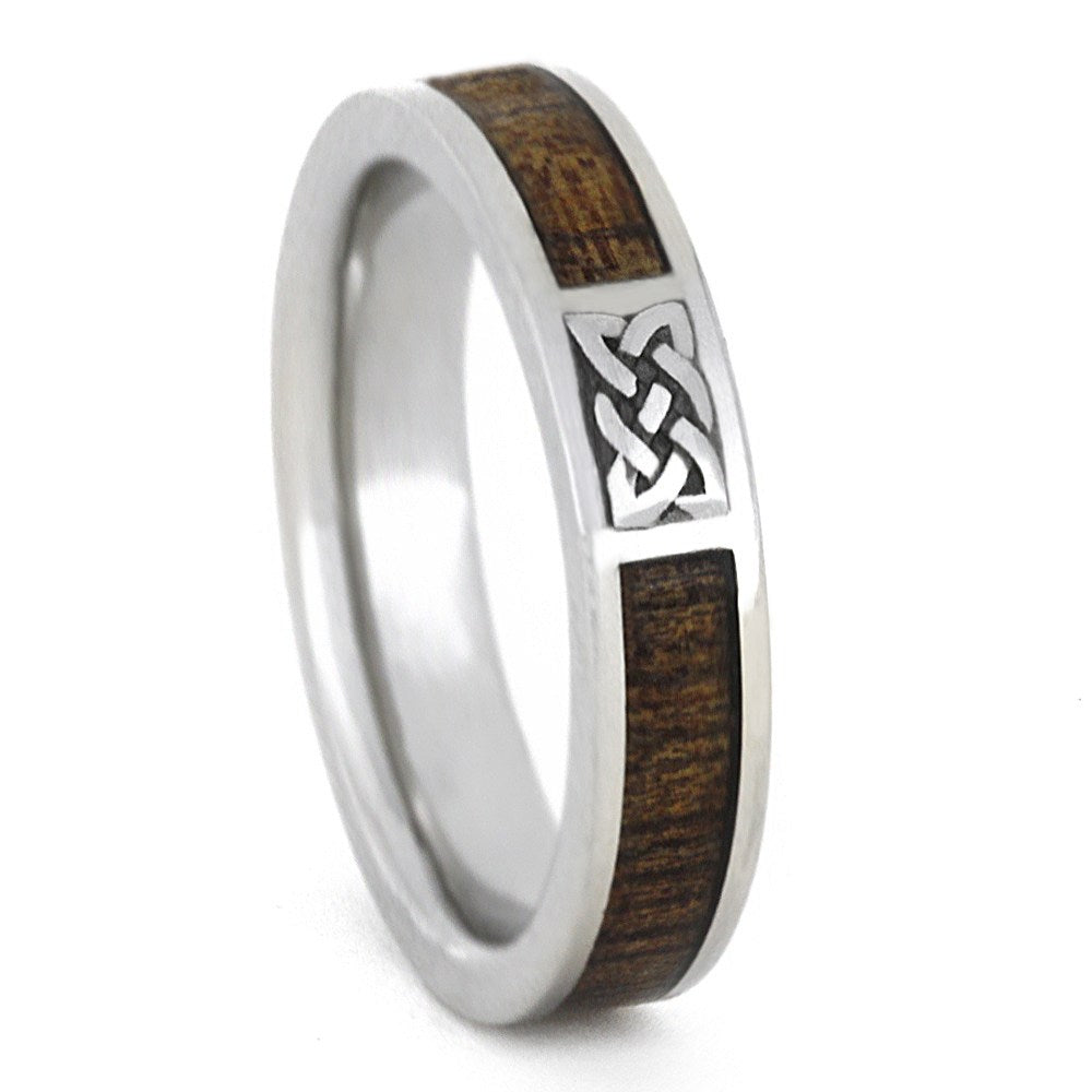 Celtic Ring, Wood Wedding Band In White Gold-3336 - Jewelry by Johan