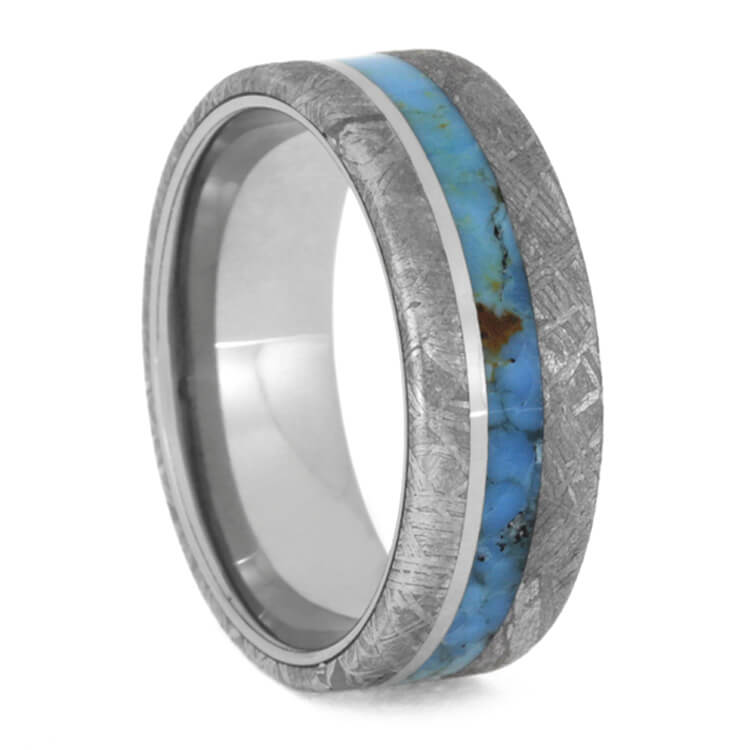 Gibeon Meteorite Men's Wedding Band With Turquoise Inlay-3637 - Jewelry by Johan