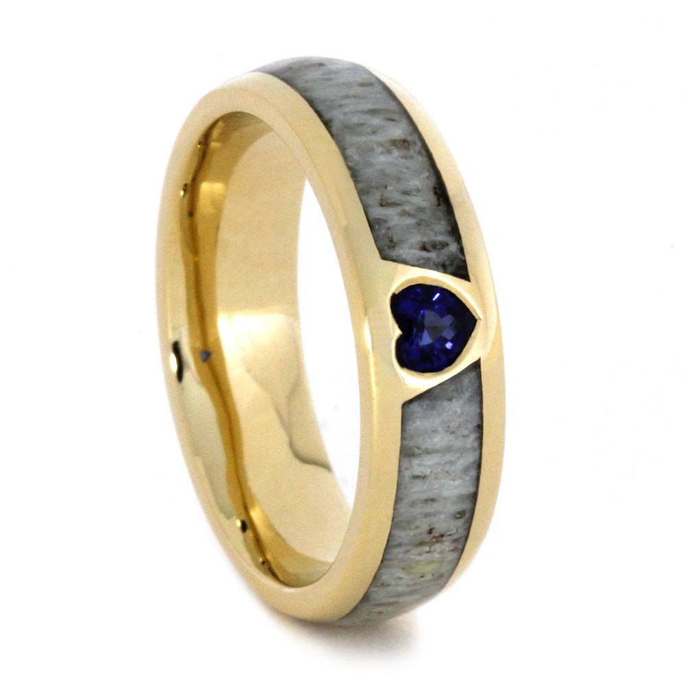 Yellow Gold Antler Wedding Band with Heart Shaped Sapphire