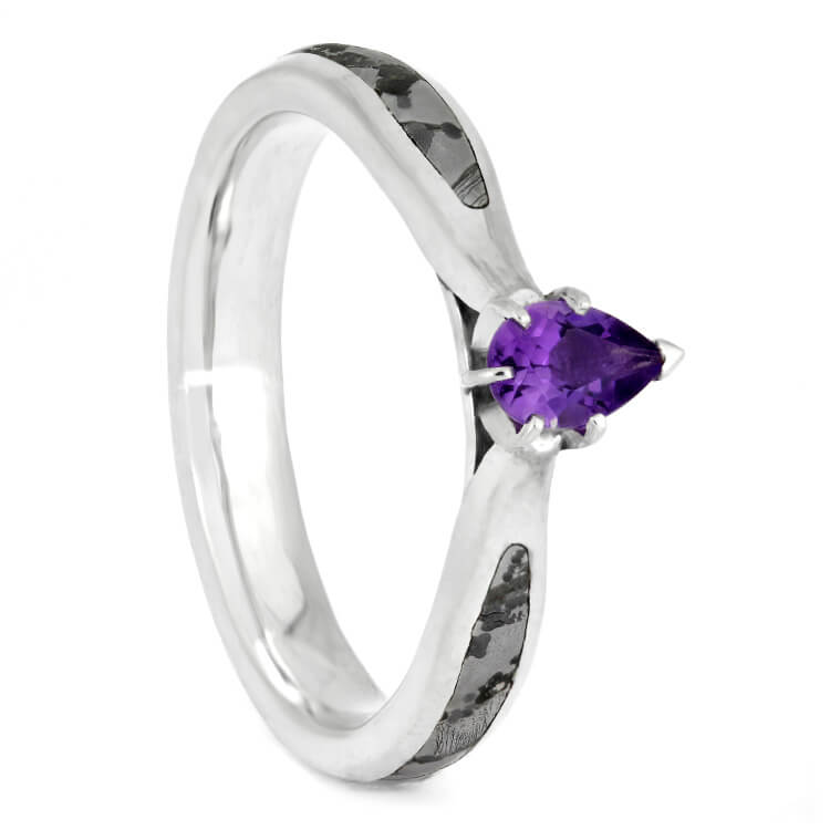 Purple Amethyst Engagement Ring With Gibeon Meteorite In Sterling Silver