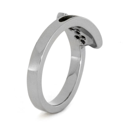 White Gold Ring With Fossil Inlay