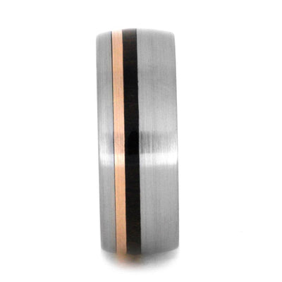 Titanium Wedding Band with Wood and Rose Gold Pinstripe