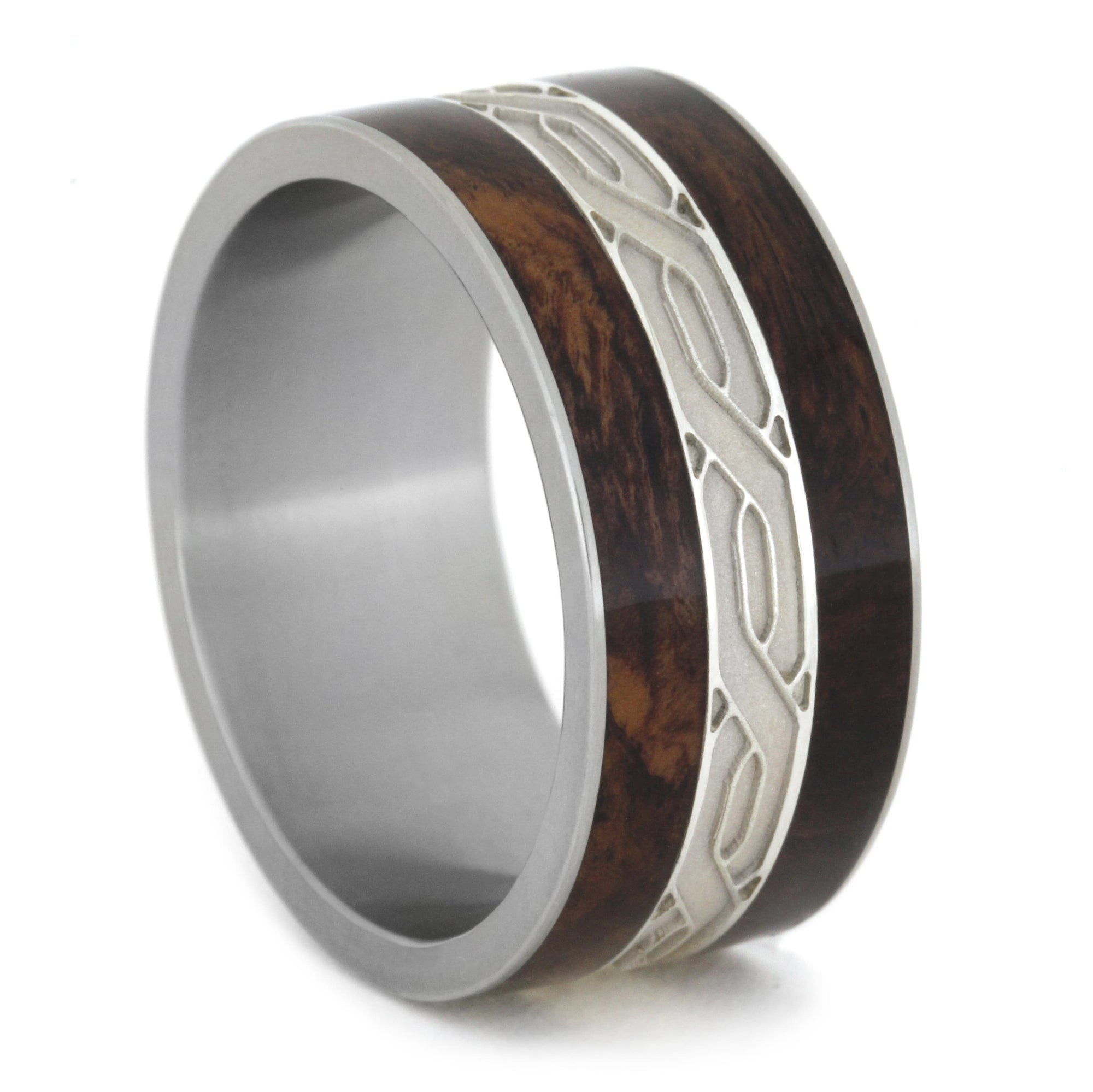 mens wedding band silver celtic knot rings honduran rosewood burl