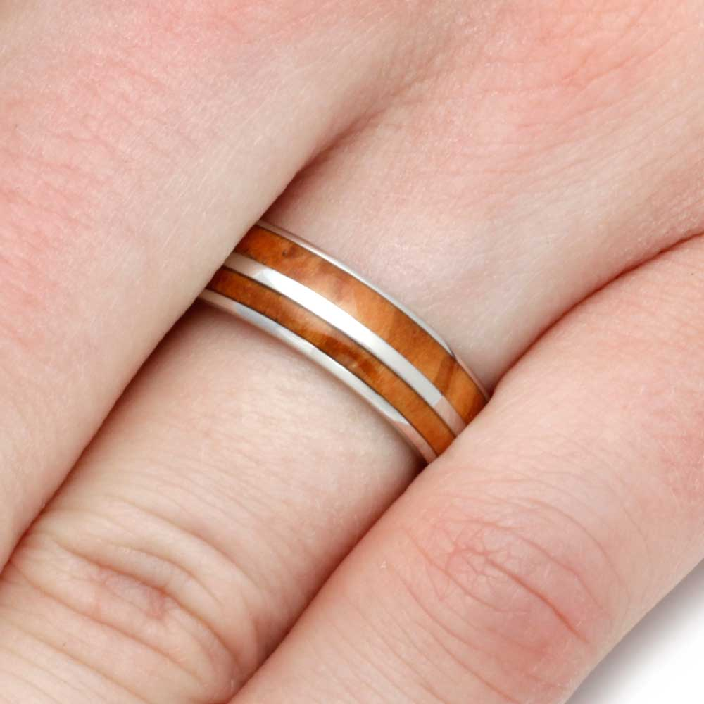 Platinum Ring For Men or Women With Olive Wood Inlays - Jewelry by Johan