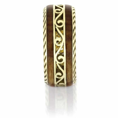 Custom Cherry Wood Wedding Band, Vintage Inspired Ring in Yellow Gold-DJ1015YG - Jewelry by Johan