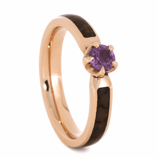 Pink Sapphire Engagement Ring With Dinosaur Bone Inlay
