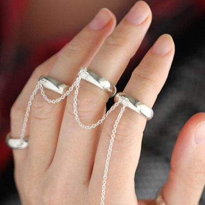 Midi Rings, Five Finger Chain Ring in Sterling Silver-2837 - Jewelry by Johan