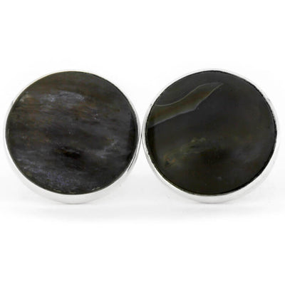 Petrified Wooden Cuff Links Made With Sterling Silver-RS9548