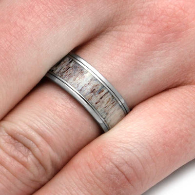 Spinner Ring With Natural Shed Deer Antler In Titanium-2992 - Jewelry by Johan