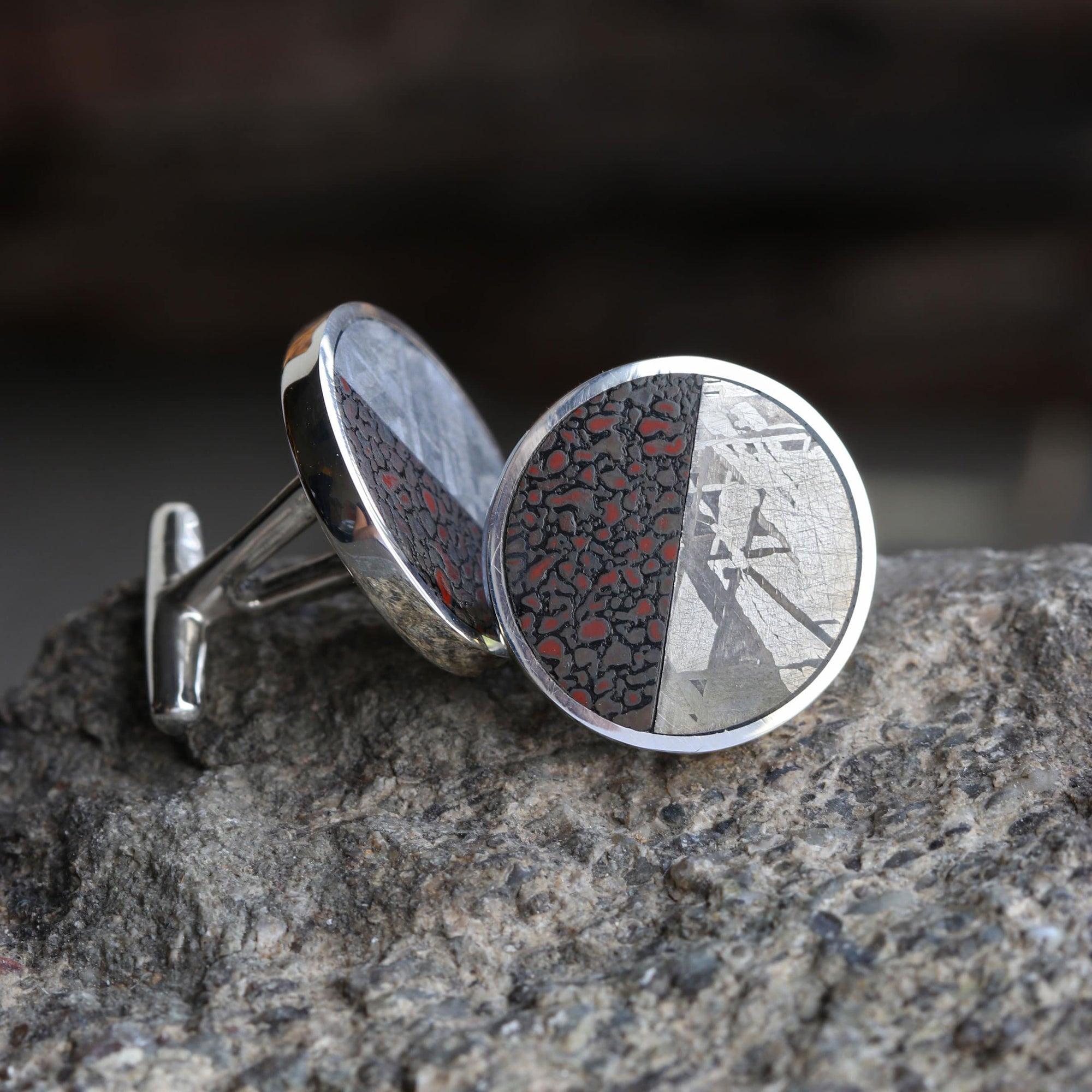 Dinosaur Fossil & Meteorite Cuff Links, In Stock-SIG3046 - Jewelry by Johan