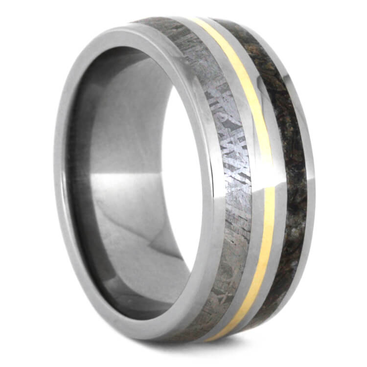 Meteorite And Dinosaur Bone Wedding Band With Yellow Gold, Size 9.5-RS9452 - Jewelry by Johan