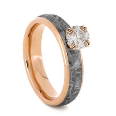 Solitaire Diamond Engagement Ring, Meteorite Ring in 14k Rose Gold-2485 - Jewelry by Johan