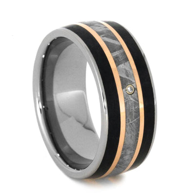 Diamond Meteorite Wedding Band with Petrified Wood and Rose Gold