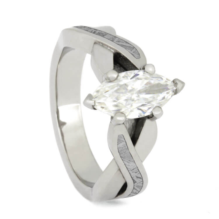 Marquise Diamond Engagement Ring With Meteorite Inlays, Platinum Ring