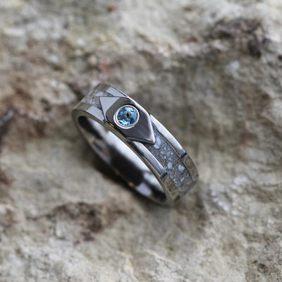Pet Memorial Jewelry, Pet Ash Ring with Blue Topaz-3233 - Jewelry by Johan