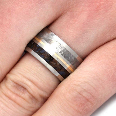 Meteorite Dinosaur Ring in Titanium Wedding Band with Yellow Gold-3194 - Jewelry by Johan