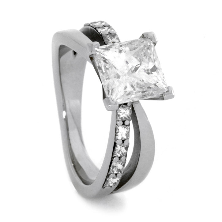 4.3 CT. T.W Princess Cut Diamond Engagement Ring, White Gold-1718 - Jewelry by Johan