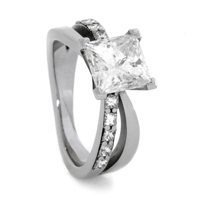 Bow Style Princess Diamonds 14k White Gold(1)
