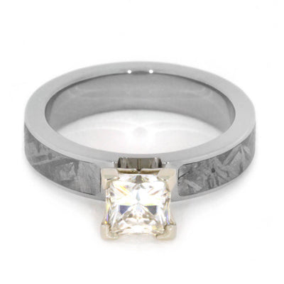 Forever One Moissanite Engagement Ring with Meteorite