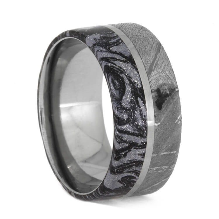 Black And White Mokume Gane And Meteorite Ring, Size 7.5-RS10298 - Jewelry by Johan