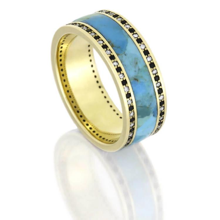Turquoise Wedding Band, Yellow Gold Diamond Eternity Ring-DJ1005YG - Jewelry by Johan